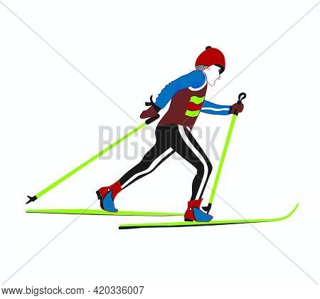 The Athlete, Running On Skis. Cross-country Skiing. Winter Sport. Vector Color Illustration On A Whi