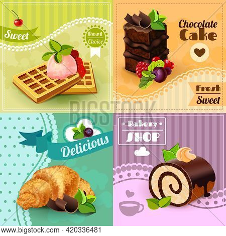 Bakery Design Concept Set With Sweet Chocolate Cake Waffles Croissant Icons Isolated Vector Illustra