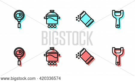 Set Line Packet Of Pepper, Fried Eggs On Frying Pan, Cooking Pot And Vegetable Peeler Icon. Vector