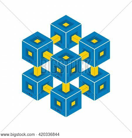 Blockchain Technology. Blockchain And Cryptocurrency On White Background. Isometric Vector Illustrat