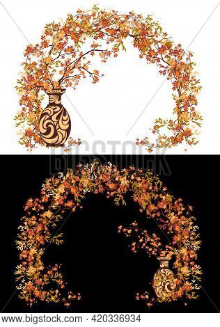 Ceramic Vase With Autumn Maple Tree Branches Arrangement And Natural Decorative Arch Border - Fall S