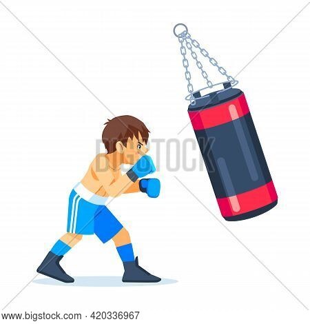 A Young Teenage Boxer Trains With A Sandbag For Boxing. Fitness, Sports, Exercise, Willpower And Lif