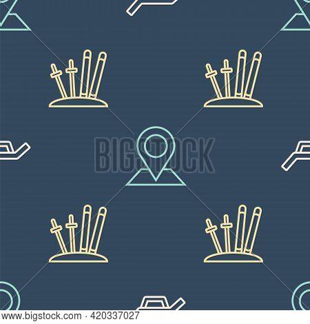 Set Line Sunbed And Umbrella, Ski Sticks And Location On Seamless Pattern. Vector