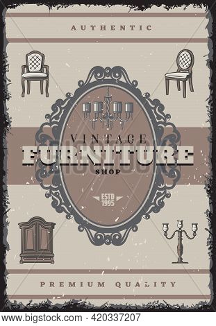 Vintage Furniture Shop Poster With Inscription Retro Chandelier Candlestick Chairs Mirror Cabinet Ve