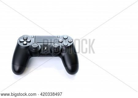 Bangkok, Thailand - January 12, 2021: The New Sony Dualshock 4 With Playstation 4. Sony Playstation
