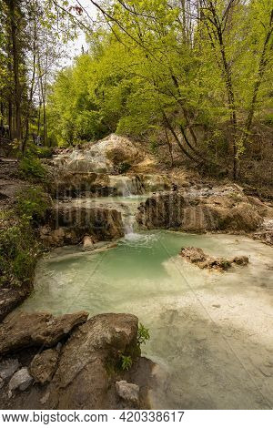 Rome, Italy - March 28, 2021, People Taking Thermal Baths In Free Outdoor Thermal Pools In Bagni Di