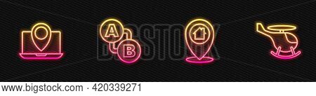 Set Line Location With House, Laptop Location Marker, Route And Helicopter. Glowing Neon Icon. Vecto