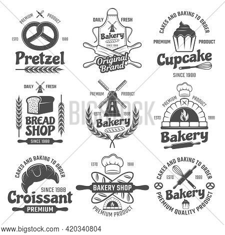 Bakery Black White Emblems With Mill And Wheat Bread And Pastry Culinary Tools Isolated Vector Illus