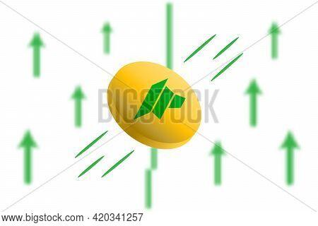 Dao Maker Coin Up. Green Arrow Up With Gaussian Blur Effect Background. Dao Maker Market Price Soari