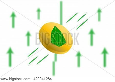 Eos Coin Up. Green Arrow Up With Gaussian Blur Effect Background. Eos Market Price Soaring. Green Ch