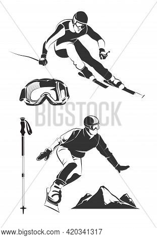 Vector Elements For Vintage Ski And Snowboard Labels And Emblems. Ski Sport, Ski Label Badge, Emblem