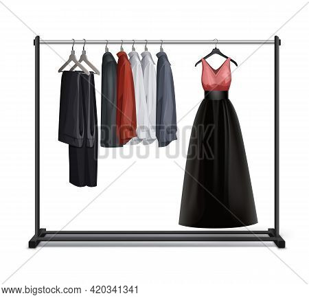 Vector Black Metal, Wood Clothes Rack With Dress, Trousers, Pants And Shirts Front View Isolated On