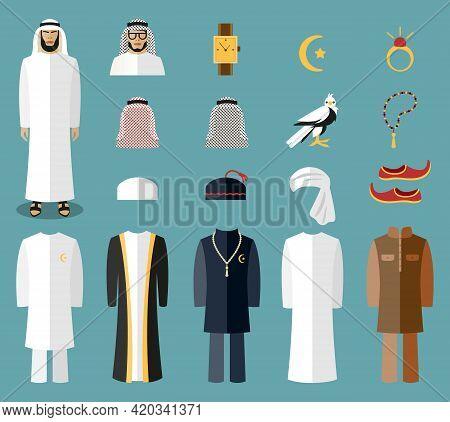 Arab Man Clothes And Accessories. Arab Cloth, Traditional Cloth, Arabic Islam Cloth. Vector Illustra