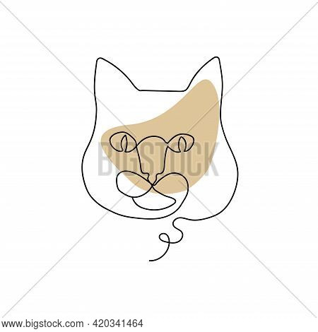 Continuous Line Drawing Cat. The Cat's Face Drawn In One Line. Thick Muzzle Of A Cat. Icon. Trendy C