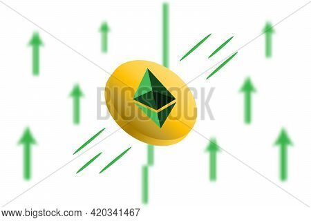 Ethereum Coin Up. Green Arrow Up With Gaussian Blur Effect Background.ethereum Eth Market Price Soar