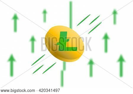 Litcoin Up. Green Arrow Up With Gaussian Blur Effect Background. Litcoin Ltc Market Price Soaring. G