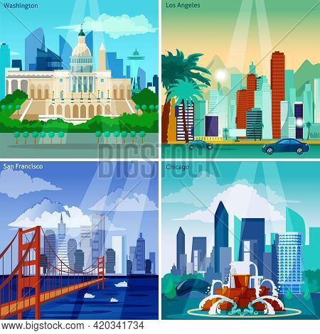 American Cityscapes Concept. Usa And Sights Vector Illustration. Us Cities Flat Icons Set. American