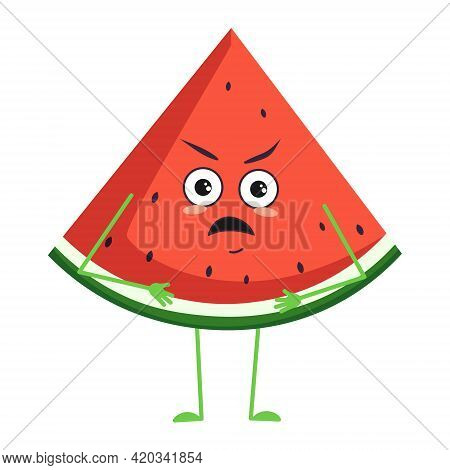 Cute Watermelon Character With Angry Emotions, Face, Arms And Legs. The Funny Or Grumpy Food Hero, F