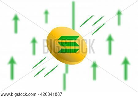 Solana Coin Up. Green Arrow Up With Gaussian Blur Effect Background. Solana Market Price Soaring. Gr