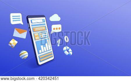 Smartphone Surrounded By Social Media And Digital Communication Symbols. 3d Render Vector Illustrati