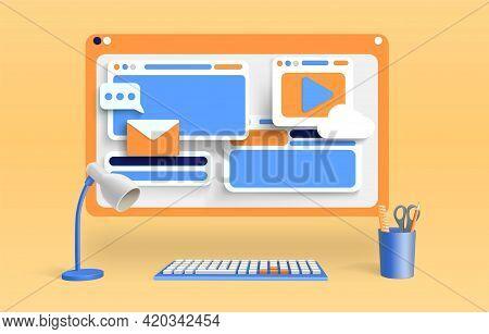 Computer Screen With Web Windows, Social Media And Digital Communication Symbols. 3d Render Vector I