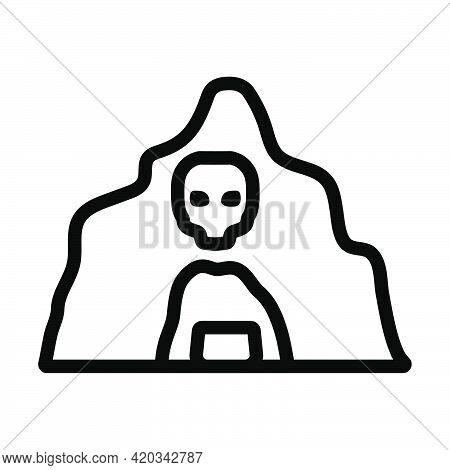 Scare Cave Icon. Editable Bold Outline Design. Vector Illustration.