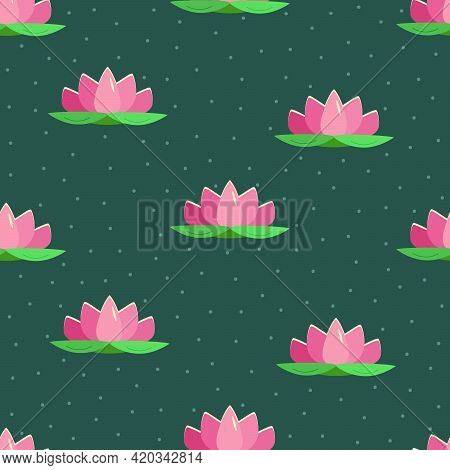 Seamless Pattern Lotus Lily Flower. Vector Illustration Of A Beautiful Pink Lotus.