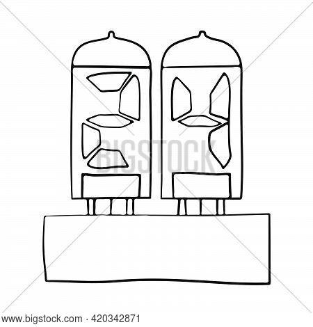 Electric Numeral Lamp Icon. Hand Drawn Sketch Design. Vector Illustration.