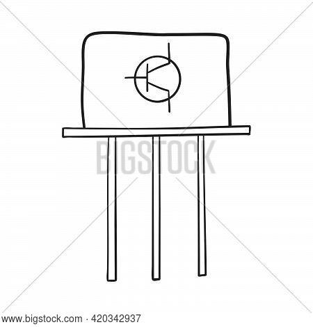 Transistor Icon. Hand Drawn Sketch Design. Vector Illustration.