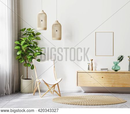 Mock Up Poster Frame In Living Room Interior Background With White Armchair And Wooden Furniture, Sc
