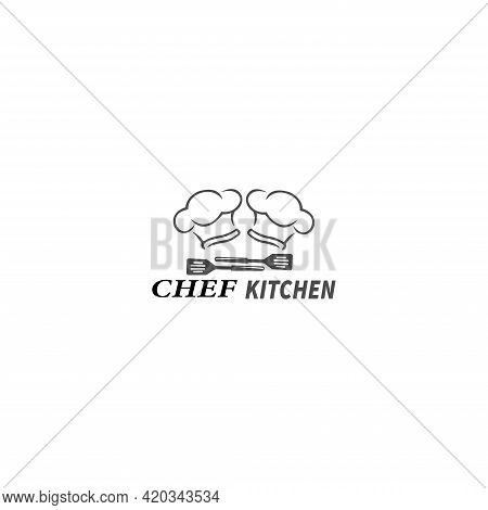 Chef Master Logo With Chef Hat On White Background