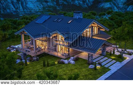 3D Rendering Of Modern Cozy Chalet In Night