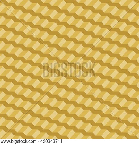 Abstract Seamless Pattern Of Yellow Steps Or Tiled Roof. Repeating Geometric Tiles With 3d Stairs. V