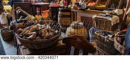 Medieval Souvenir Shop In Tallinn, Estonia, Panoramic, Travel Photo