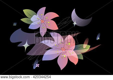 Anime-style Flowers And Crescent Moon Isolated Over Black Background. Modern Gradient Vector Design.