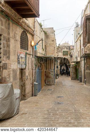 Jerusalem, Israel, March 23, 2021 : Deserted Street Due To Coronavirus, In The Old City Of Jerusalem