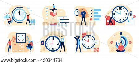 Time Management. Productive Business People Organizing Their Time. Effective Work Planning, Multitas