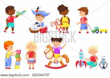Kids Playing With Toys. Cartoon Children Play With Rocket, Bunny. Kindergarten Girl On Rocking Horse