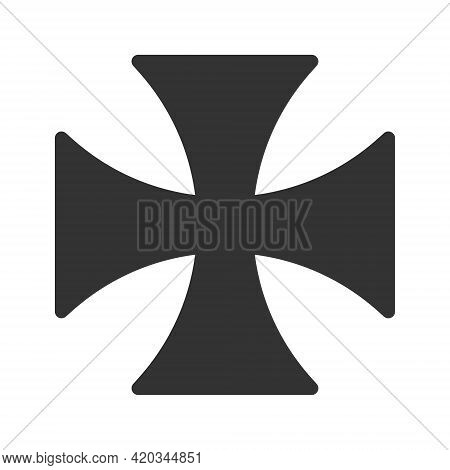 Maltese Cross Vector Shape Symbol. Christianity Sign. Grunge Texture. Christian Religion Icon. Catho