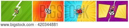 Comic Versus Fight Battle Background In Retro Pop Art Style. Cartoon Team Competition Challenge Bann