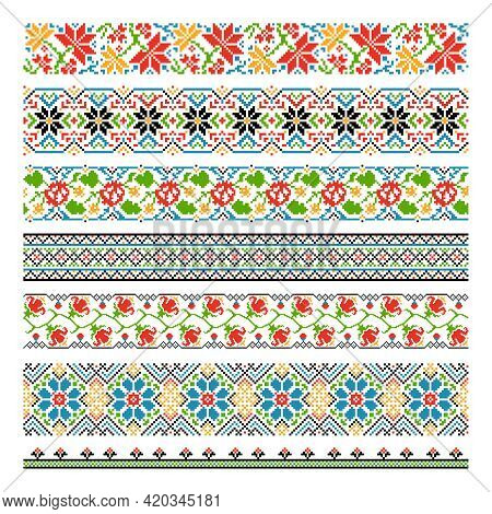 Ukrainian Ethnic National Border Seamless Patterns For Embroidery Stitch. Graphic Cross-stitch Style