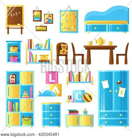 Baby Room Furniture Colored Icons Set Of Toys Chalkboard Wardrobe Commode Shelves Isolated Vector Il