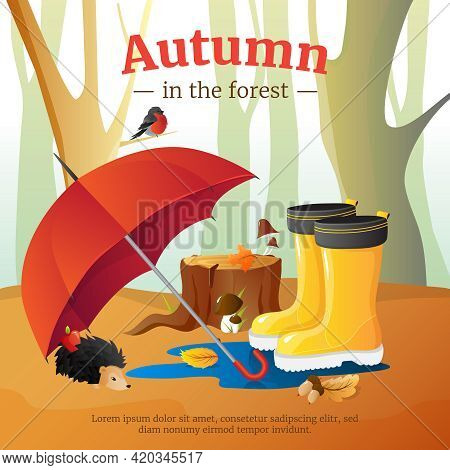 Autumn In Forest Poster With Red Umbrella Wellingtons And Hedgehog With Trees Trunks Background Cart