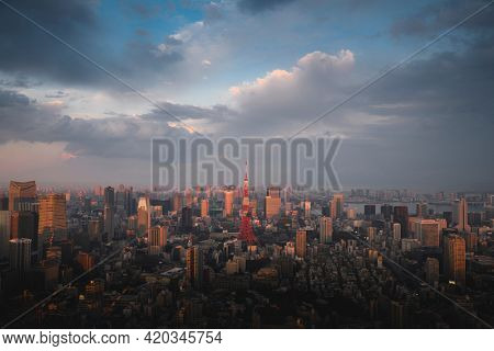 View of downtown Tokyo, Japan drone photograph