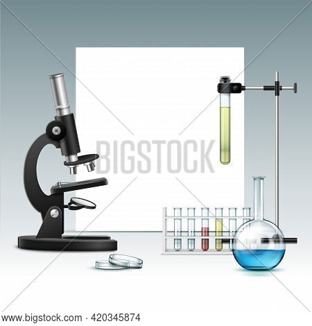 Vector Black Metal Optical Microscope With Transparent Glass Petri Dish, Flask, Test Tubes With Gree