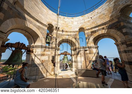 Pisa, Italy - July 29, 2020: The Ancient Bells Of The Leaning Tower Of Pisa, Piazza Dei Miracoli (sq