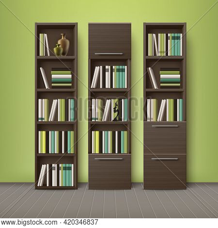 Vector Brown Wooden Bookcases, Full Of Different Books And Decorations, Standing On Floor With Green