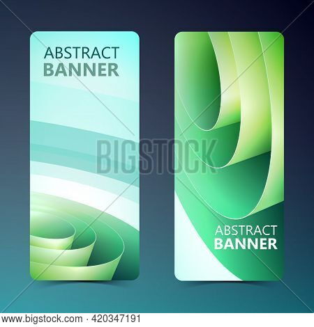 Abstract Vertical Banners With Green Wrapping Rolled Paper Coil In Light Style Isolated Vector Illus