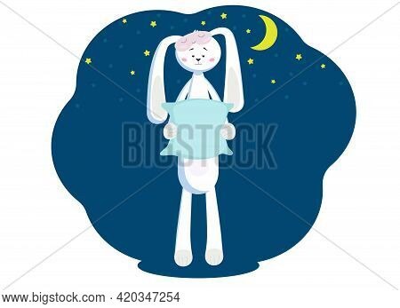Vector Illustration Of A Cute Hare With Long Ears Against The Background Of The Night Sky, Stars And