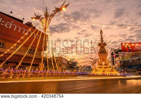 Chiang Rai, Thailand : 26-12-2019 : The Golden Clock Tower In The City Centre Of Chiang Rai City, Th